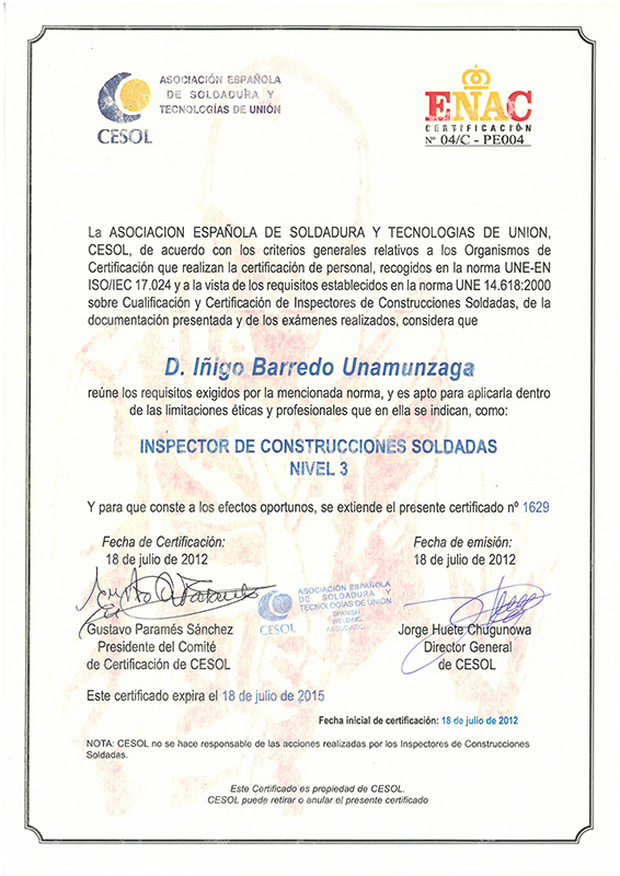 Certificado CESOL